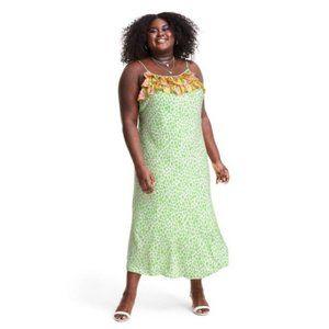 NWT RIXO Green Leopard Ruffle Slip Dress Size 1X